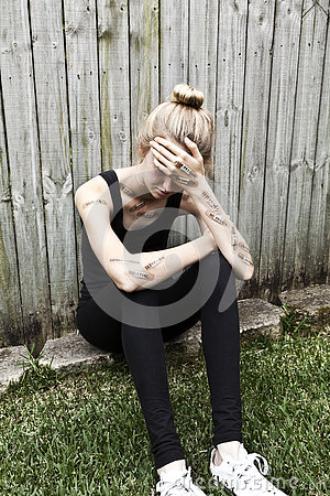 Free Mental Health Teen Depression Anxiety Royalty Free Stock Image - 80814816