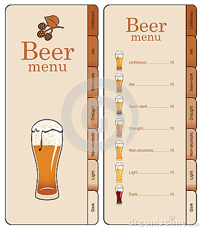 Menu for beer