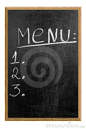Menu on the blackboard showing what is available.