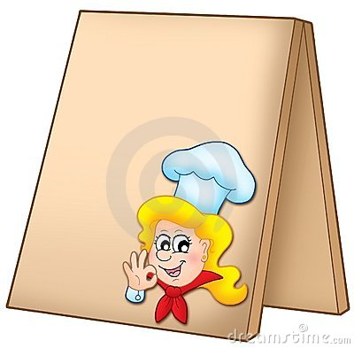 Menu board with cartoon chef woman