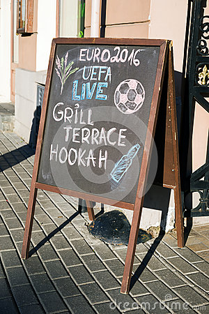 Free Menu Board Stand And Outdoor Cafe Euro 2016 Stock Photos - 72858163