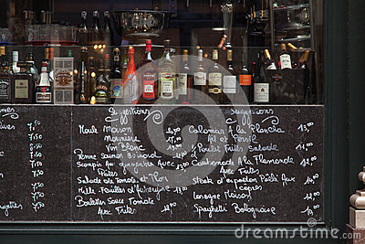 Menu in Brussels Belgium Editorial Photo