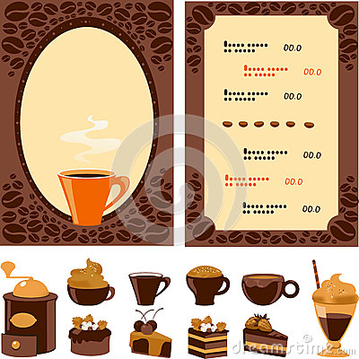 Menu for cafe with collection dessert and drinks