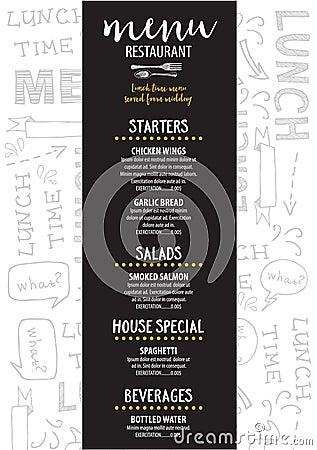 Menu Cafe Restaurant, Template Placemat. Food Board Design ...