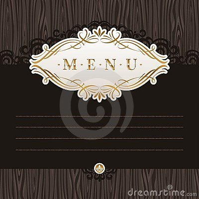 Menu with calligraphic decorative frame