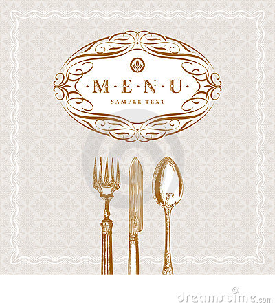 Menu with calligraphic frame and vintage cutlery
