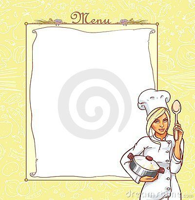 Menu card with ttractive young woman in chef suit