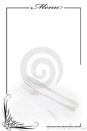 Menu card in white.
