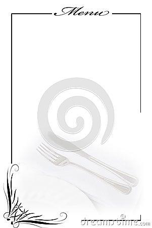 Menu card in white.