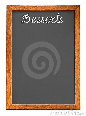 Menu chalkboard for desserts