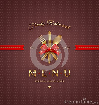 Menu cover with golden cutlery