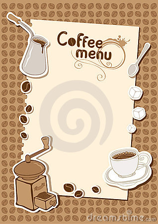 Menu with a cup of coffee grinder