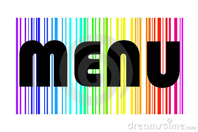 Menu design in colorful rainbow