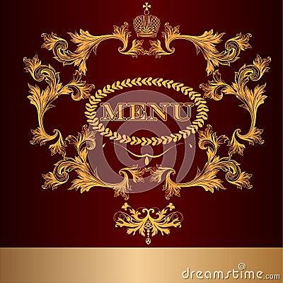 Menu design in luxury royal style