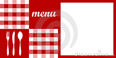 Menu design. Red tablecloth.
