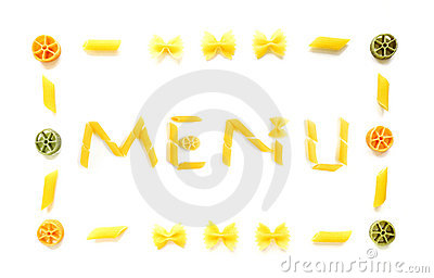 Menu in dried pasta shapes