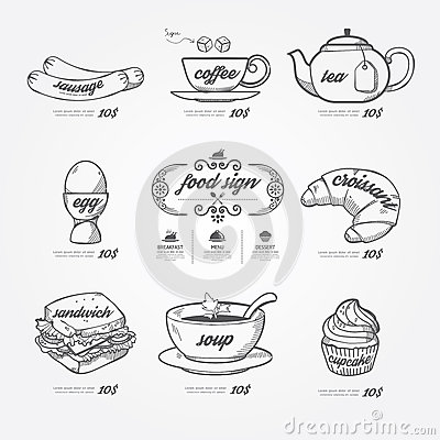 Free Menu Icons Doodle Drawn On Chalkboard Background .Vector Vintage Royalty Free Stock Photos - 40645118