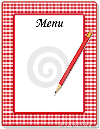 Menu, Red Gingham