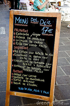 Menu at spanish bar