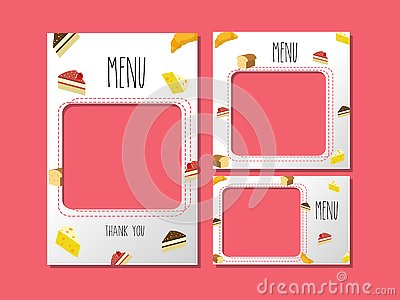 Menu template for dessert and sweet bakery. Vector Illustration