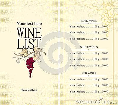 Menu wine