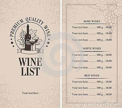 Menu of wine