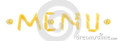 Menu word in pasta shapes