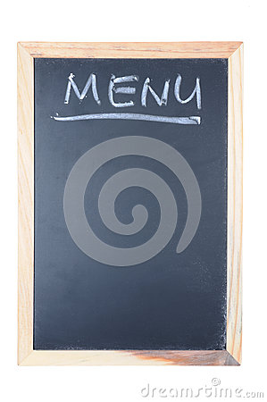 Menu word written on chalkboard