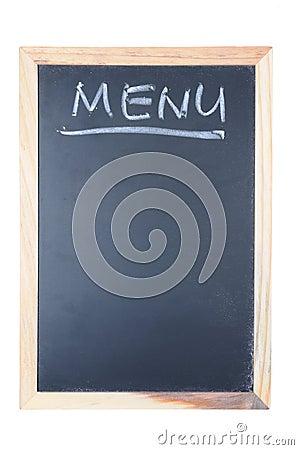 Menu word written on chalkboard