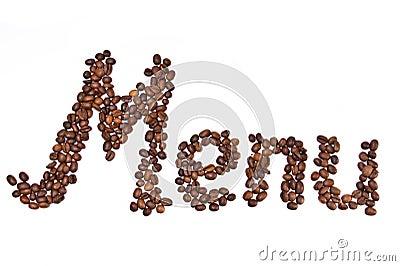 Menu word  written by coffee beans