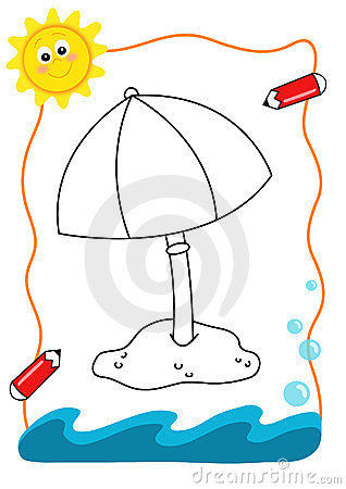 Mer de livre de coloration, le parapluie