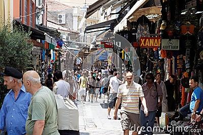 Mercado de pulgas en Atenas Imagen editorial
