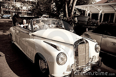 Mercedes Benz 220S cabriolet on Vintage Car Parade Editorial Photo
