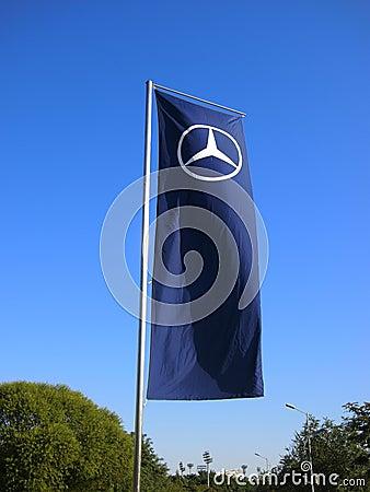 Mercedes Benz Dealership >> Mercedes Benz Logo Flag Editorial Image - Image: 21413100