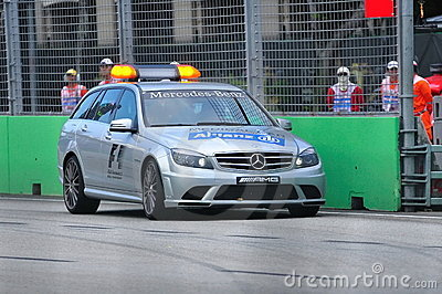 Mercedes C 63 AMG Medical Car at Formula BMW race Editorial Stock Image