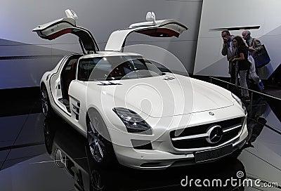 Mercedes SLS AMG at Paris Motor Show Editorial Stock Photo