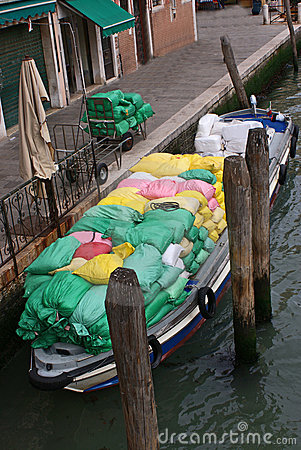 Merchandise transport on water channel