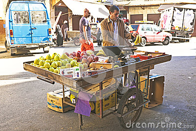 Merchant is selling fruit Casablanca Morocco Editorial Photography