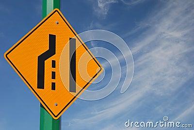 Merge left traffic sign