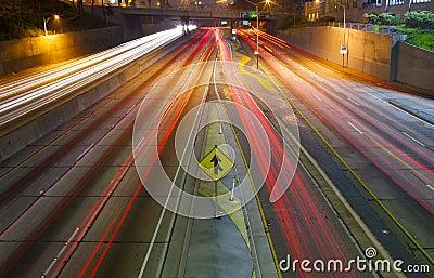 Merging Freeway traffic at night