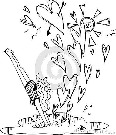 Mergulhos da mulher na água com corações