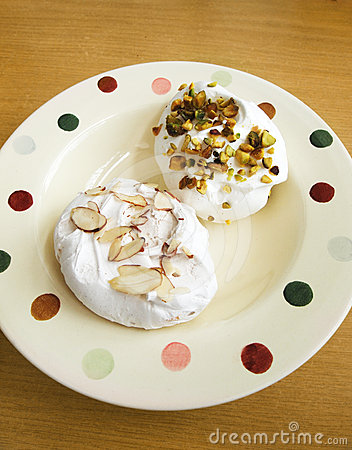 Meringues on plate
