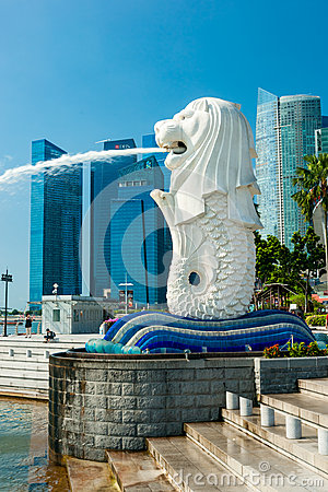 The Merlion  fountain and Marina Bay Sands, Singapore. Editorial Photo