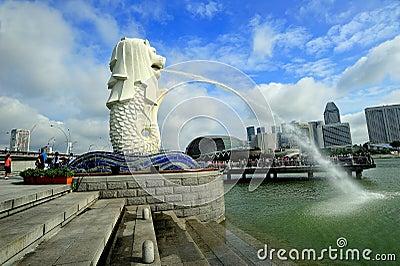 Merlion Park, Singapore. Editorial Stock Photo