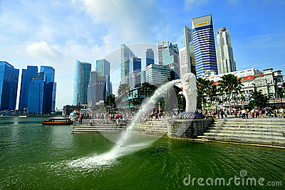 Merlion and Singapore skyline Editorial Stock Image