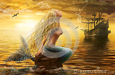 Sea Mermaid with Ghost Ship at Sunset
