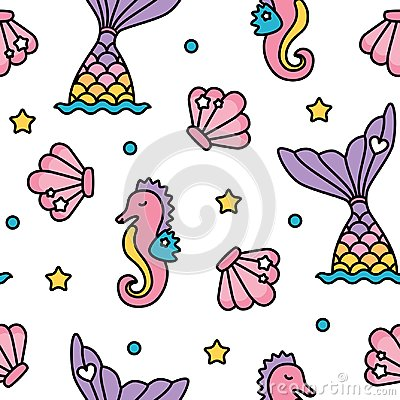 Free Mermaid And Seahorse Pastel Rainbow Color Cute Seamless Pattern Stock Images - 109158264