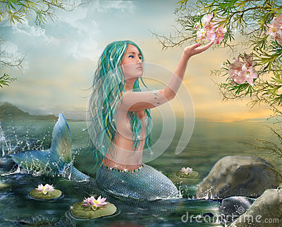 Mermaid in the Sunset with Green Hair & Lilies
