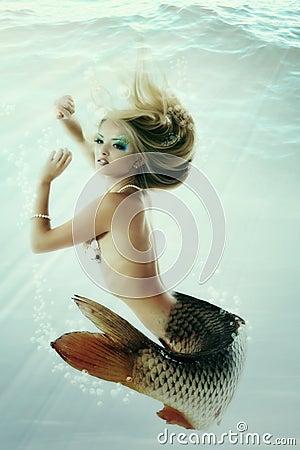 Mermaid beautiful underwater mythology being original photo comp