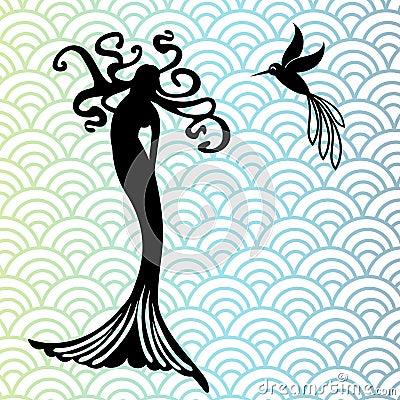 Mermaid and hummingbird
